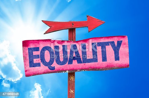 istock Equality sign with sky background 471969348