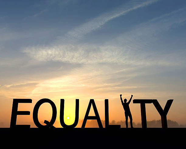 Equality success silhouette stock photo