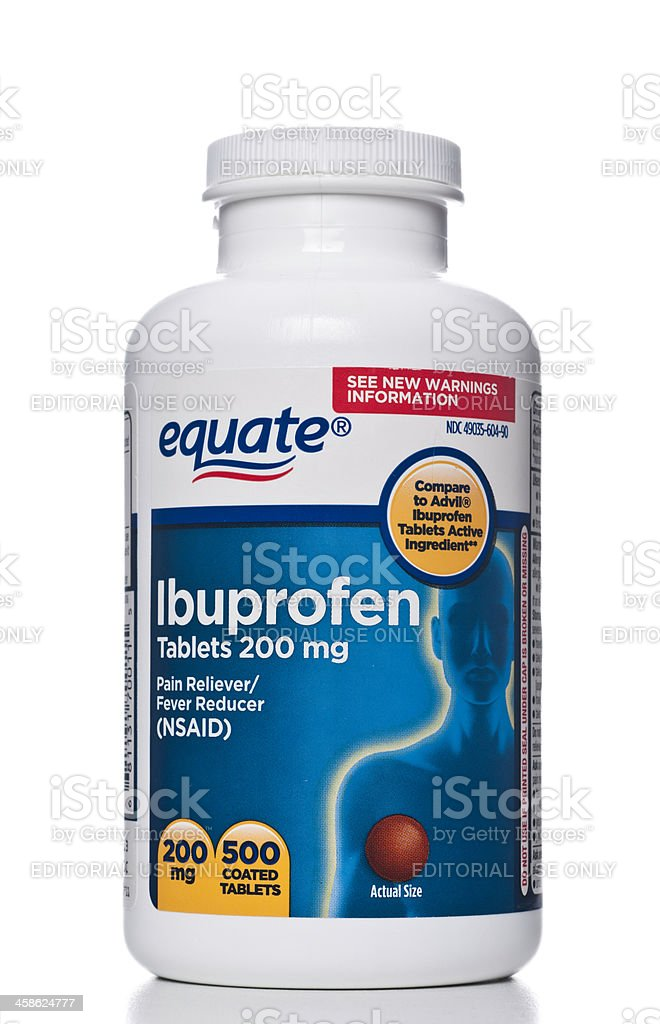 Equate Ibuprofen bottle stock photo