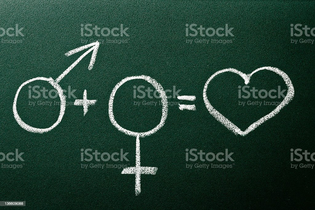 Equation define  relation between male and female on green black stock photo