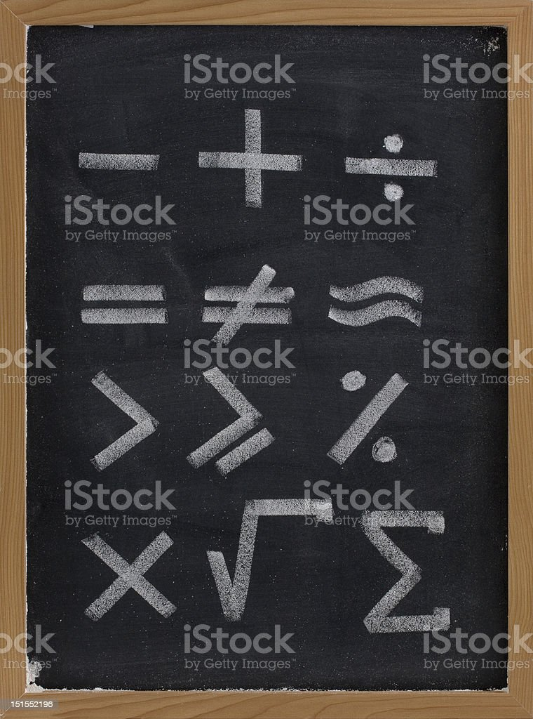 equation shapes - mathematical symbols on blackboard stock photo
