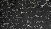 Various mathematical and physical formulas on a blackboard