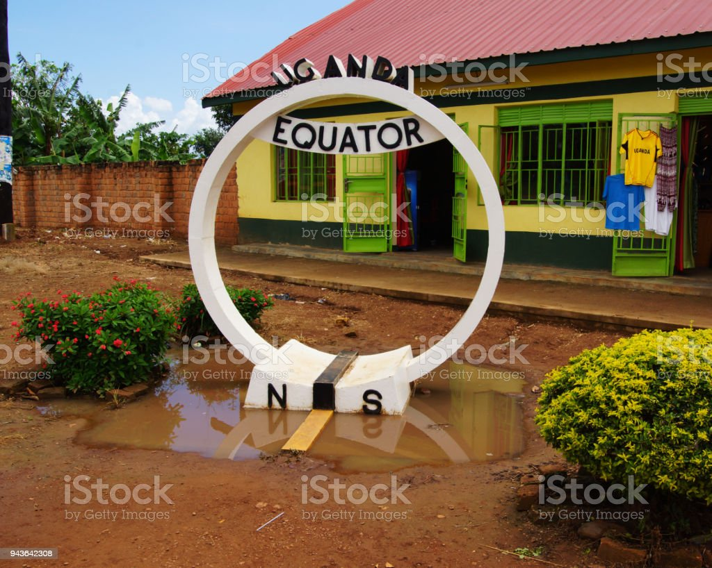 equator in Uganda a point in Uganda, which shows the course of the equator Africa Stock Photo