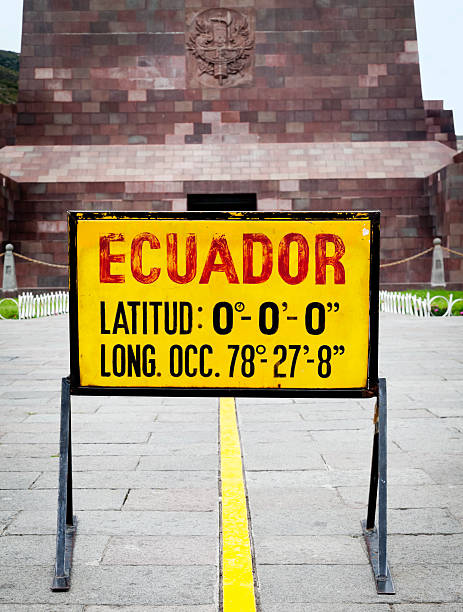 """Equator line in Ecuador """"The Equator in Ecuador, marked with a yellow line at the monument Mitad del Mundo."""" equator stock pictures, royalty-free photos & images"""