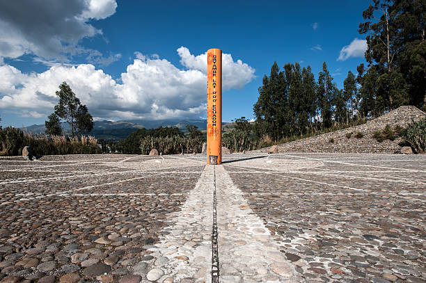 """Equator Line Monument, Cayambe, Ecuador """"Monument marks the point through which the equator passes, Cayambe, Ecuador"""" equator stock pictures, royalty-free photos & images"""