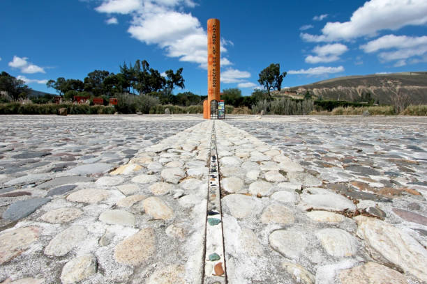 Equator Line monument, marks the point through which the equator passes, Cayambe, Ecuador Equator Line monument, marks the point through which the equator passes, Cayambe, Ecuador, South America equator stock pictures, royalty-free photos & images