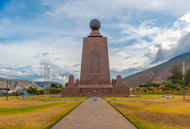 Equator Line Monument near Quito, Ecuador The monument at the equatorial line called Mitad del Mundo in the north of Quito, Ecuador. equator stock pictures, royalty-free photos & images
