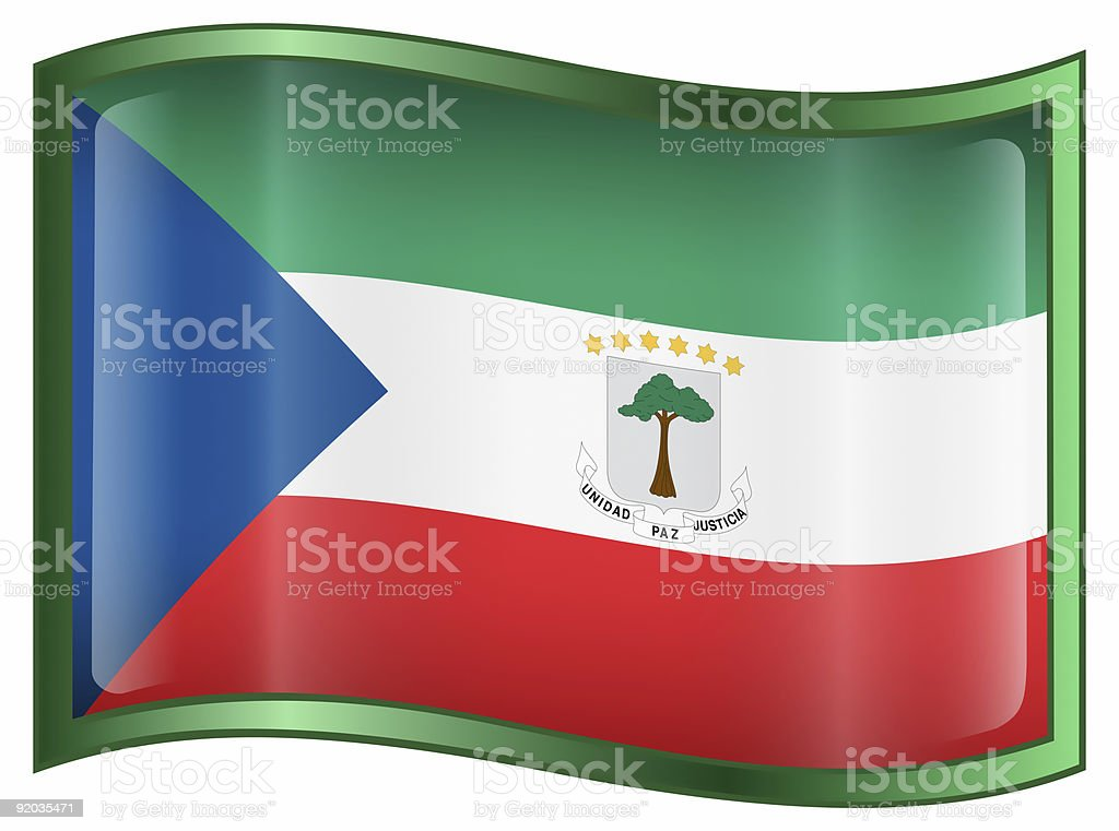 Equatorial Guinea Flag icon, isolated on white background. royalty-free stock photo