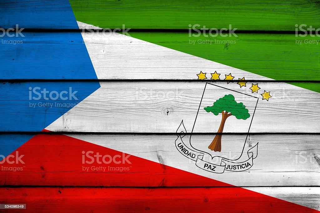 Equatorial Guinea Flag on wood background stock photo