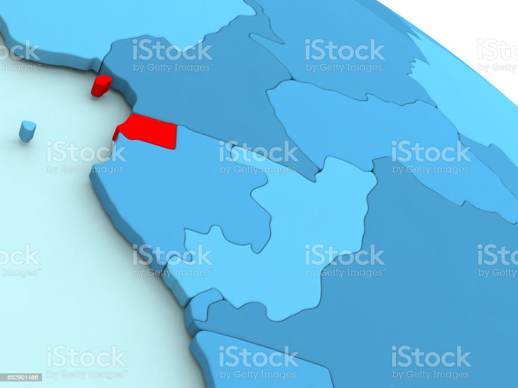 Equatorial Guinea in red on blue globe stock photo