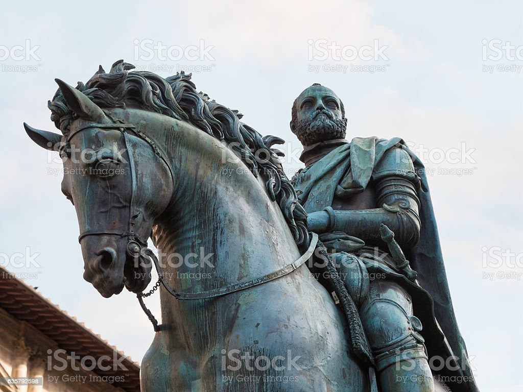 Equestrian Monument of Cosimo I close up stock photo