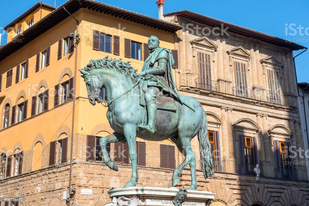 equestrian monument of Cosimo I in Florence, Italy stock photo