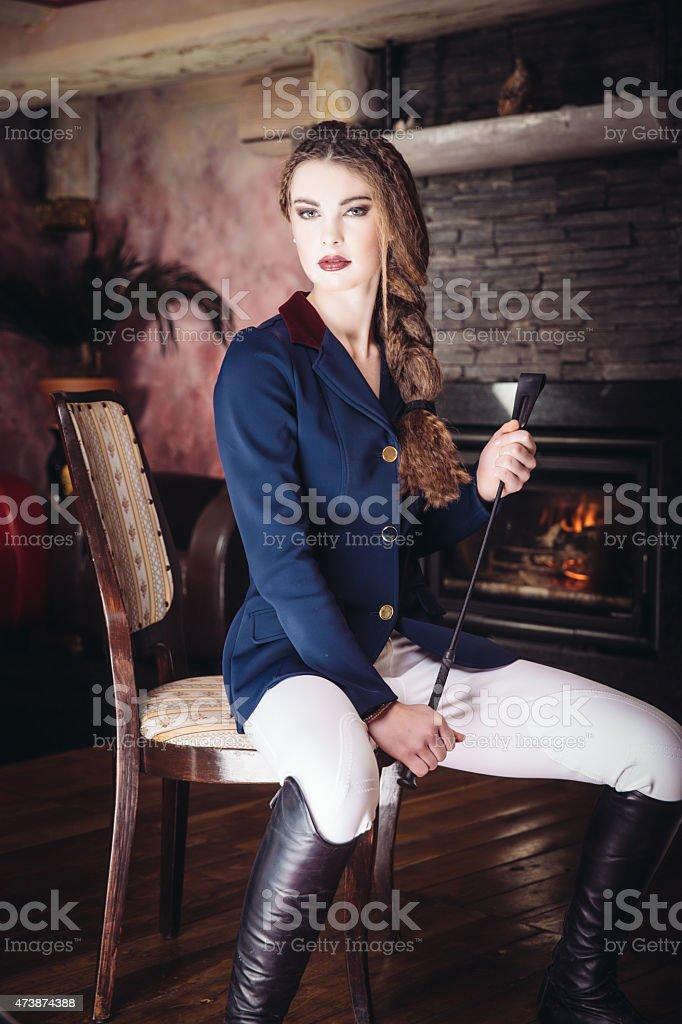 Equestrian portrait stock photo