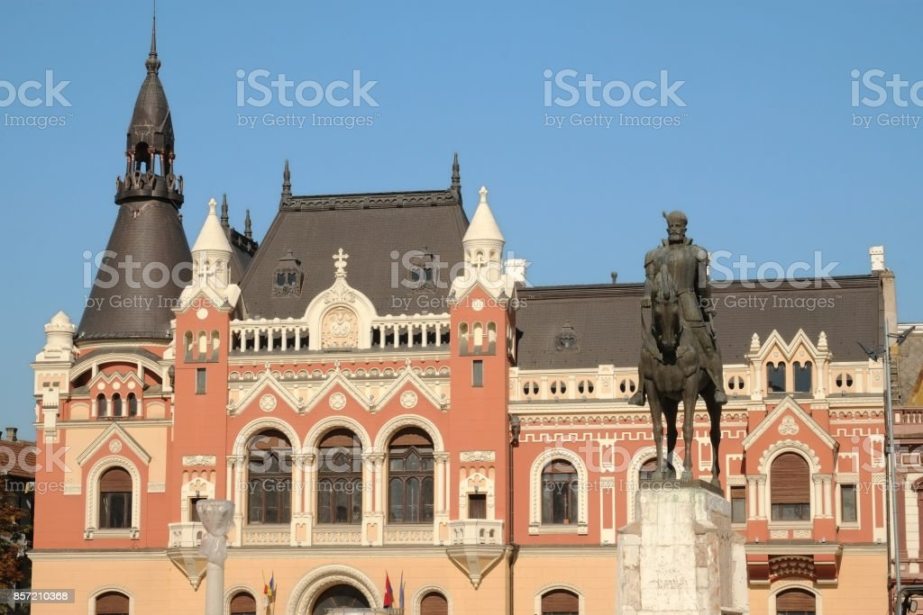 Equestrian Statue And County Library In Union Square Of Oradea, Romania stock photo