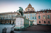 istock Equestrian Statue At Piazza Carlo Alberto in Turin, Italy 1280147740