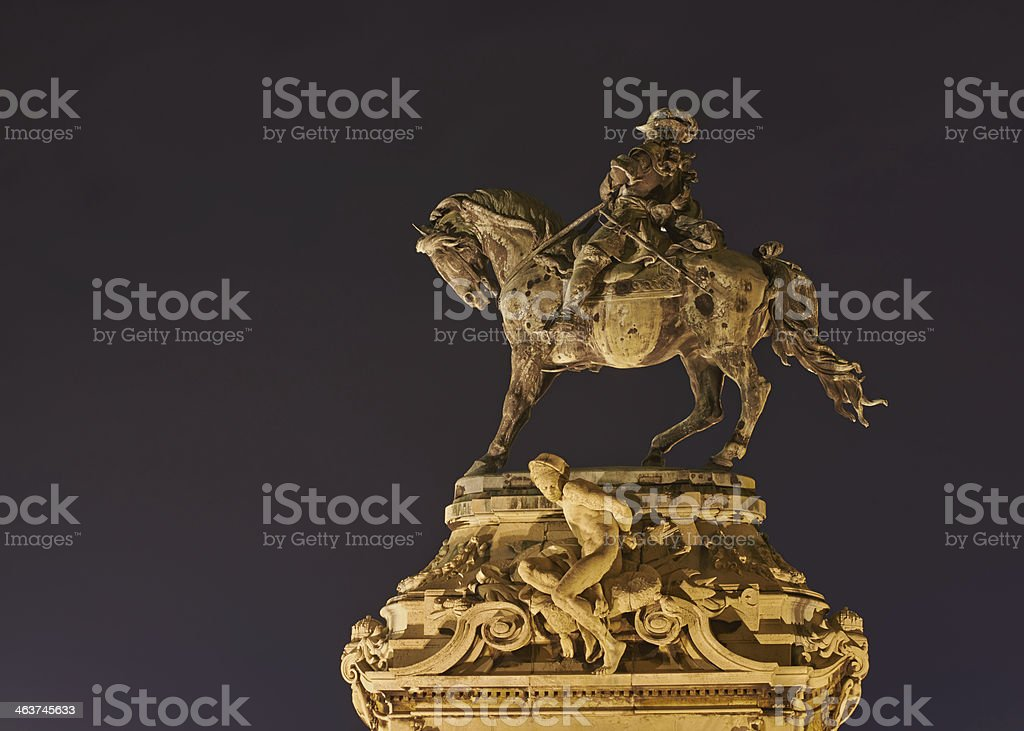 Equestrian statue  Eugene of Savoy at Buda Castle, Budapest. royalty-free stock photo