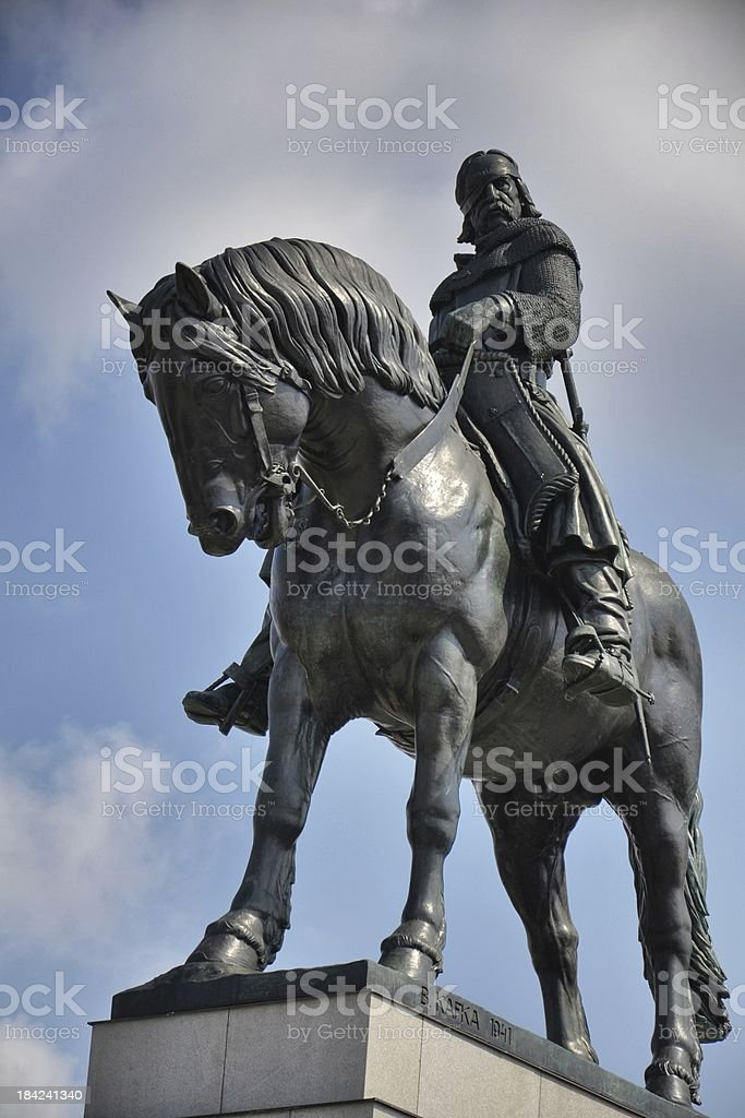 Equestrian statue in Prague stock photo