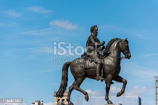Equestrian statue King Henri IV in Paris, epithet Good King Henry, was King of Navarre (as Henry III) from 1572 and King of France from 1589 to 1610