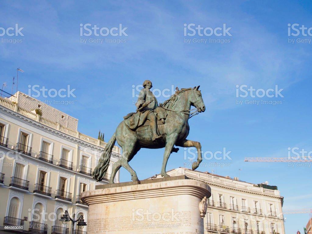 Equestrian statue of Carlos III stock photo