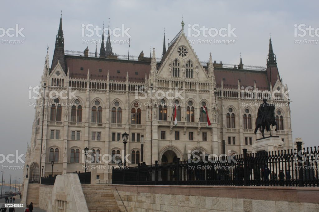 Equestrian statue of Count Gyula Andrassy near the building of Hungarian Parliament, Budapest, Hungary. stock photo