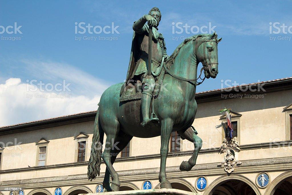 Equestrian Statue of Duke Ferdinando I de Medici, Florence, Italy stock photo