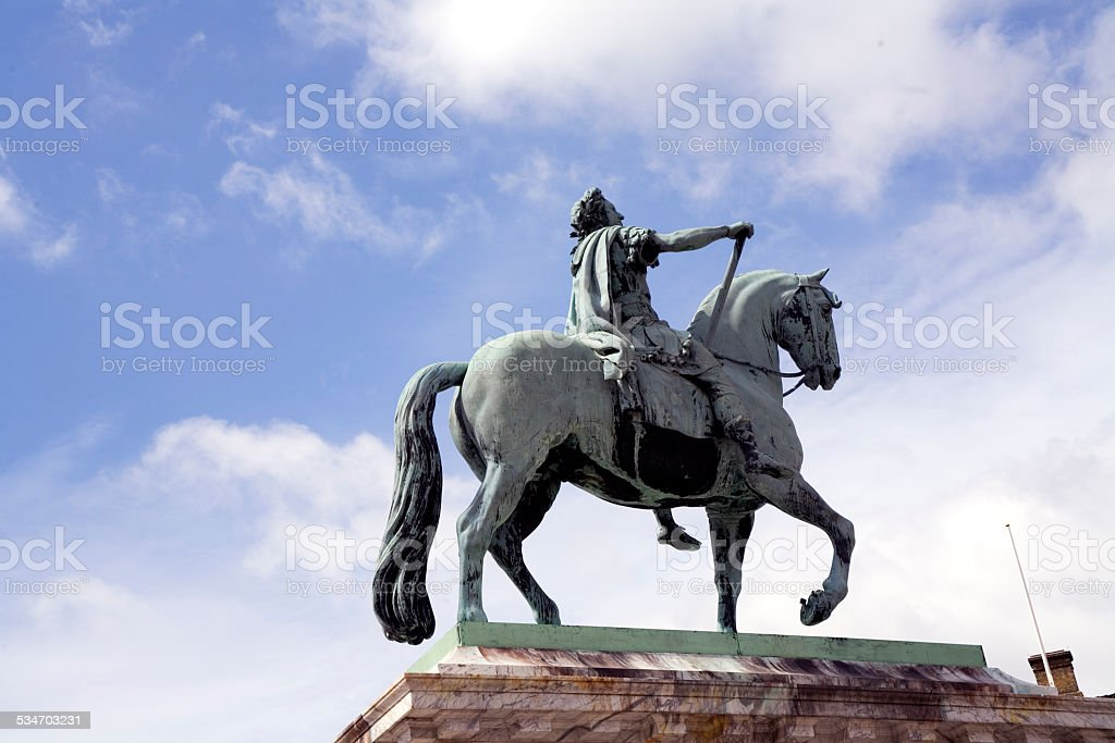 Equestrian Statue of Frederik V on Amalienborg Palace Square stock photo