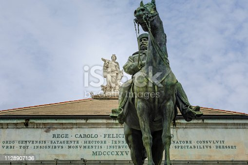 equestrian statue of general and politician Giuseppe Garibaldi by Emilio Gallori (1846-1924) in front of Teatro Carlo Felice in Genoa; Genoa, Italy