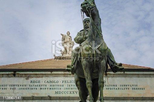 equestrian statue of general and politician Giuseppe Garibaldi by Emilio Gallori (1846-1924) in front of Teatro Carlo Felice in Genoa; Genoa, Italy