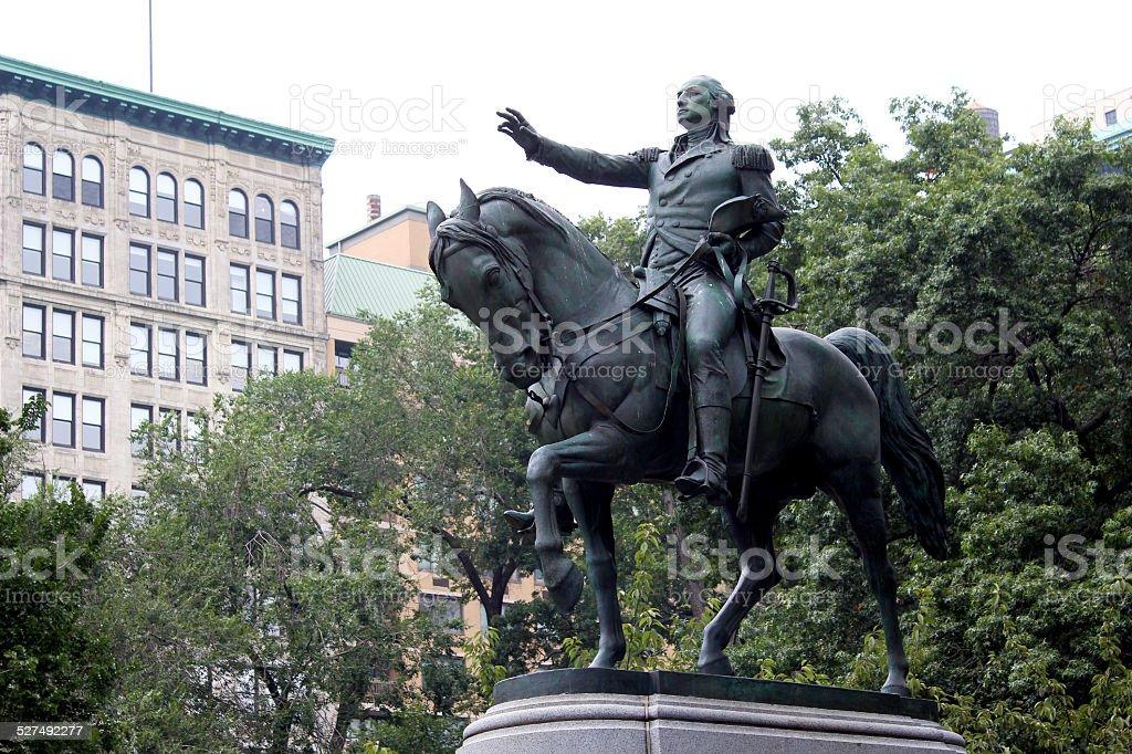 Equestrian statue of General George Washington stock photo