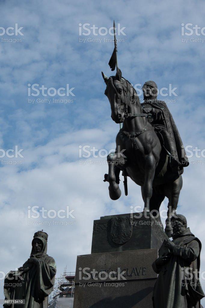 Equestrian statue of King Wenceslas in Wenceslas Square in Prague Czech Republic. Statue of King Wenceslas, beloved king of Bohemia. stock photo