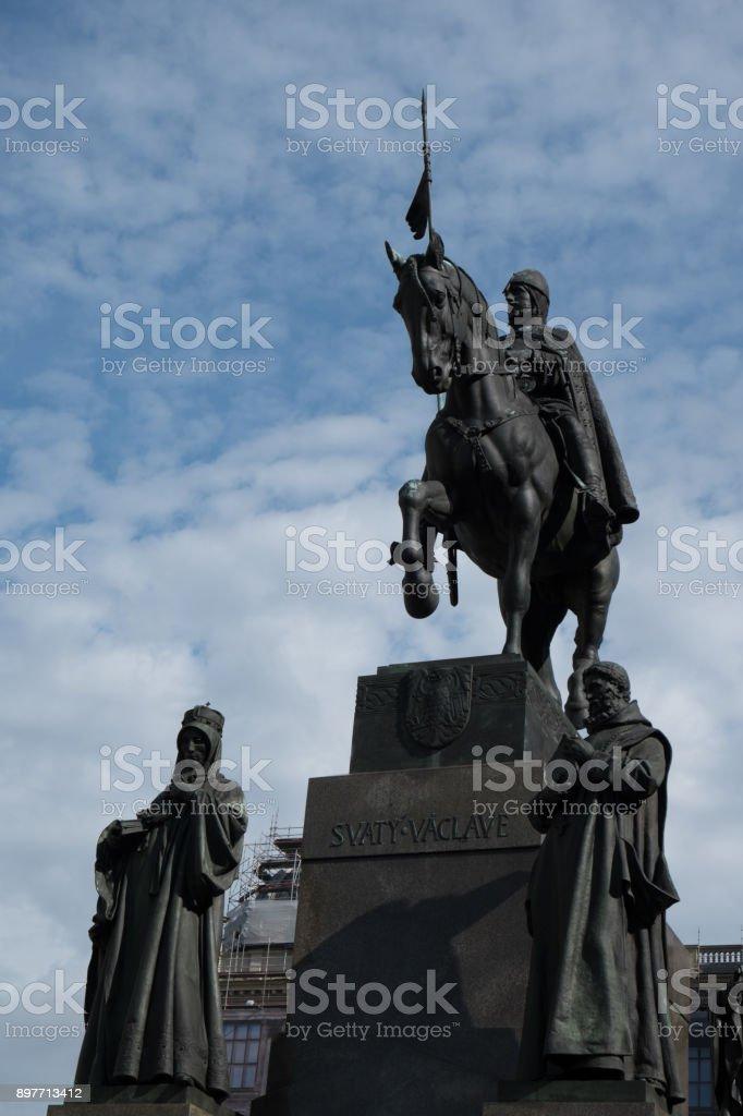 Equestrian statue of King Wenceslas in Wenceslas Square in Prague, Czech Republic.  Statue of King Wenceslas, popular king of Bohemia. stock photo