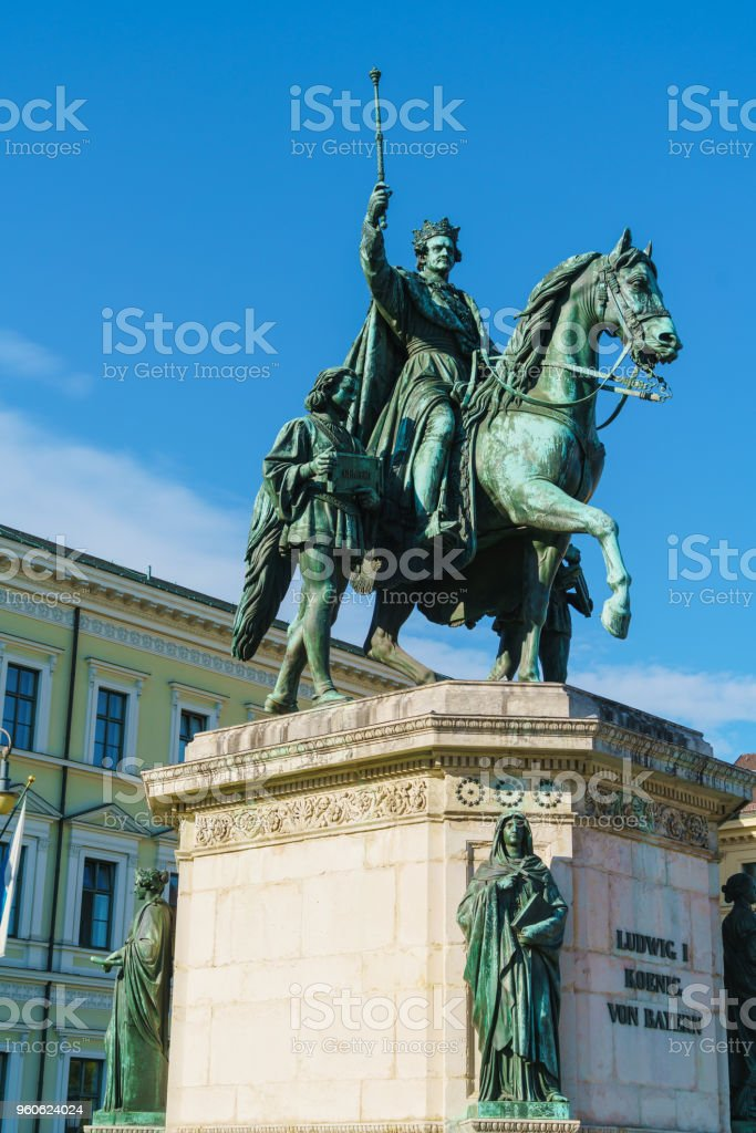 Equestrian statue of Ludwig I (1862) by Max von Widnmann at Odeonsplatz, Munich, Germany stock photo