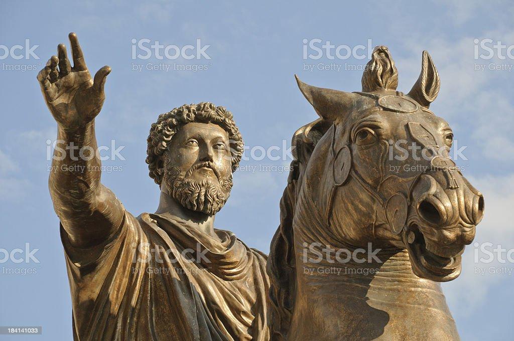 Equestrian Statue of Marcus Aurelius stock photo