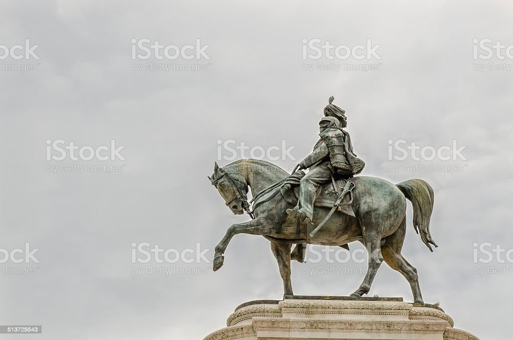 equestrian statue of Monument to Victor Emmanuel II, Rome, Italy stock photo