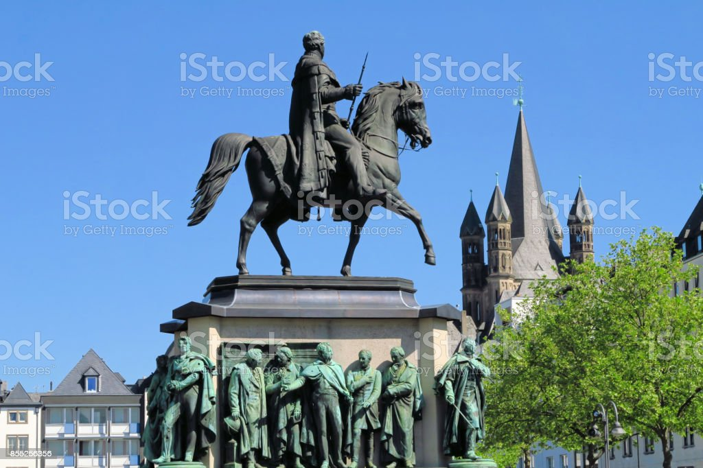 Equestrian statue of Wilhelm II in Cologne, Germany stock photo