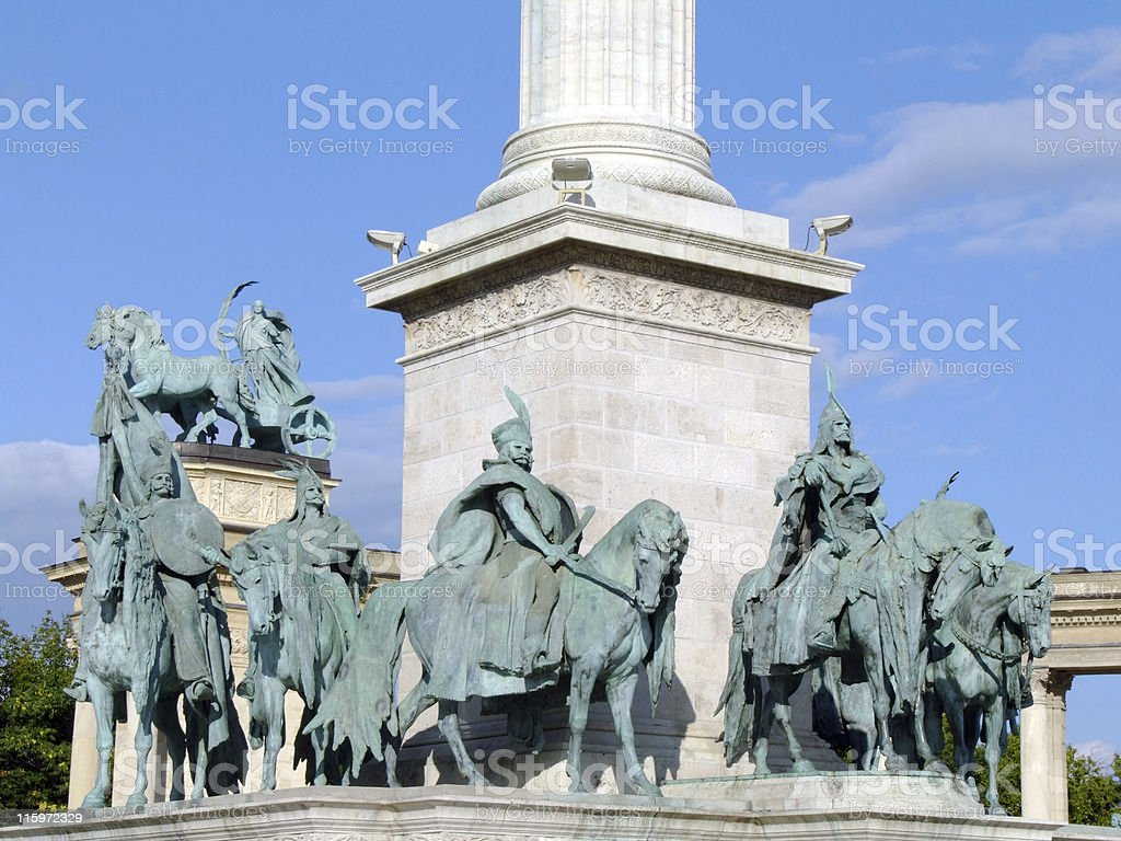 Equestrian statues in Heroes' Square, Budapest royalty-free stock photo