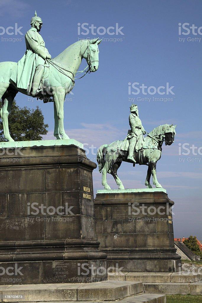 Equestrian statues of Emperor Wilhelm and Barbarossa in Goslar stock photo