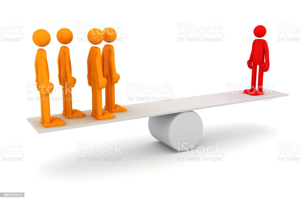 Equilibrium between one man and a group of people stock photo
