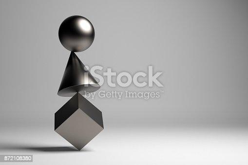 Metallic geometric pieces balancing. Balance concept