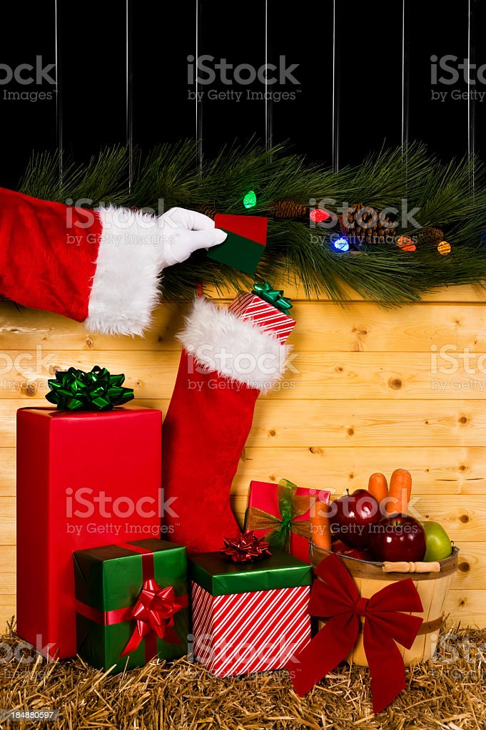 Equine Christmas - Gift card royalty-free stock photo