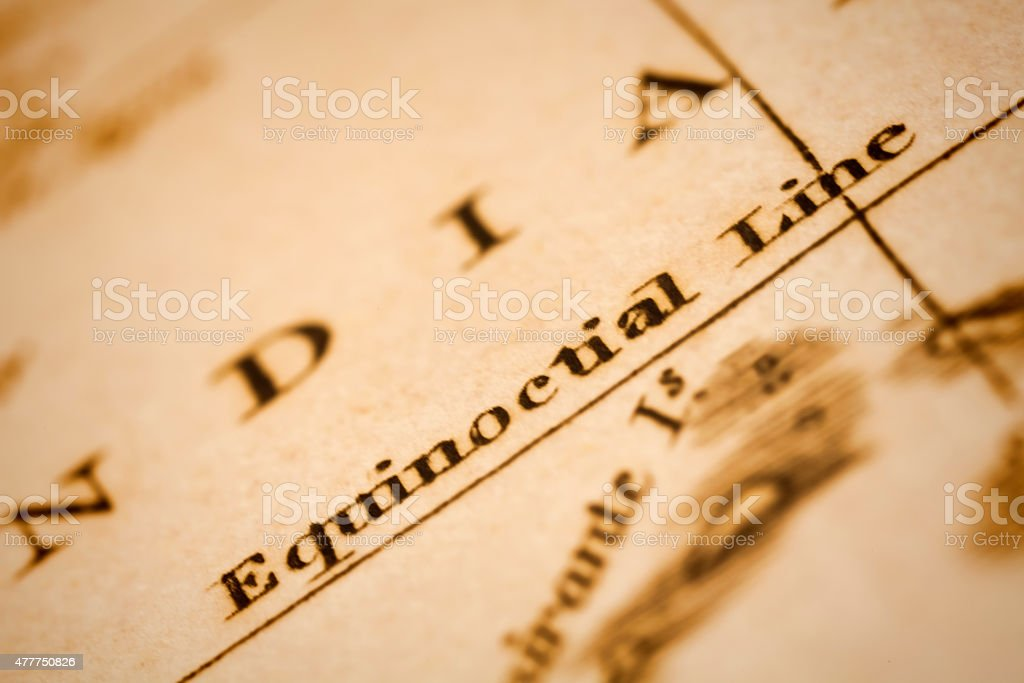 Equinoctial Line on an Antique map stock photo
