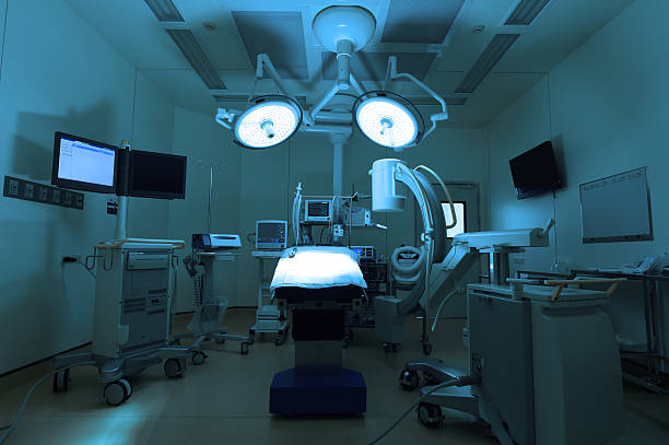 equipment and medical devices in modern operating room stock photo