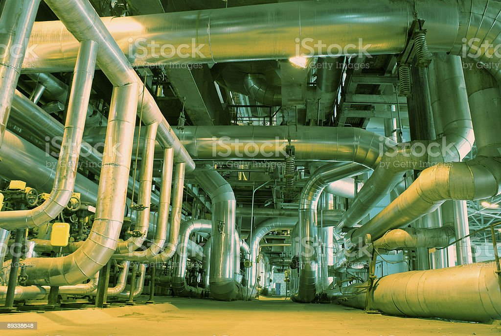 Equipment, cables and piping at power plant royalty-free stock photo