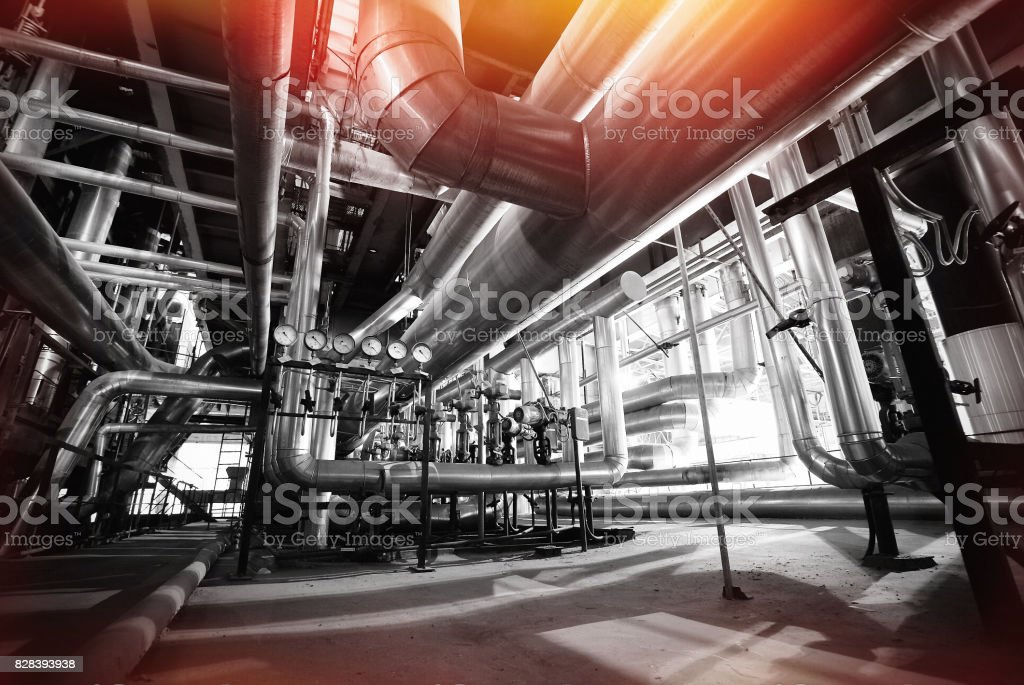 Equipment, cables and piping stock photo