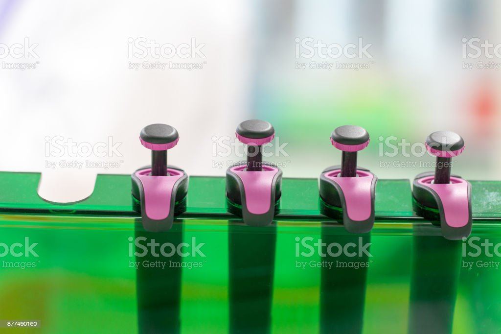Equipment for analyze samples bacteria into the agarose gel and for the separation of DNA fragments in Laboratory. stock photo