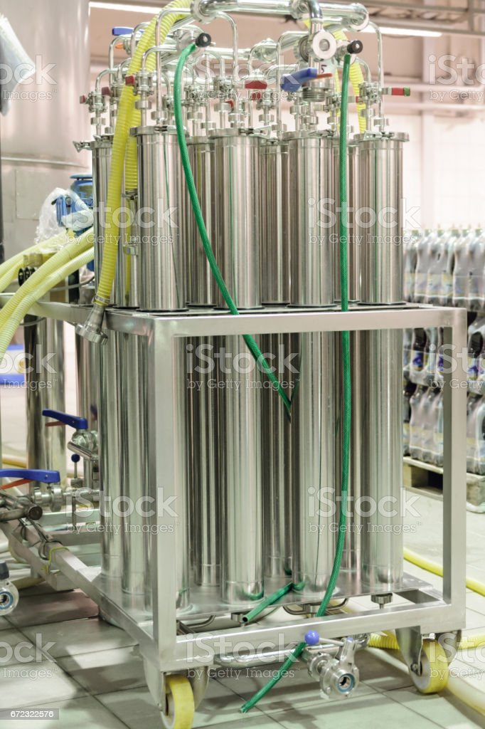 Equipment for beer filtration stock photo