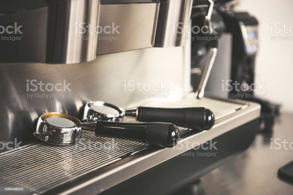 Equipment for coffee machine in coffee shop.