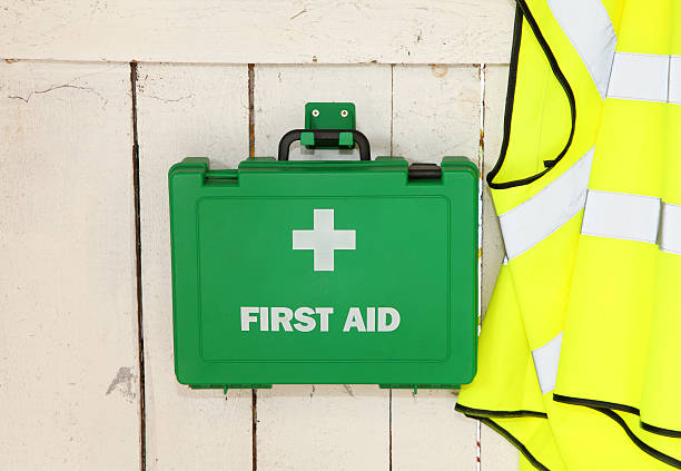 Equipment for first aider in industrial environment stock photo