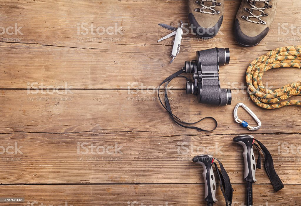 Equipment for hiking stock photo