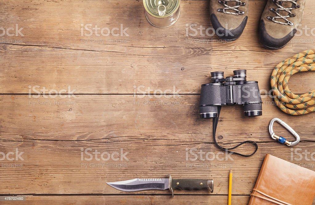 Equipment for hiking stock photo